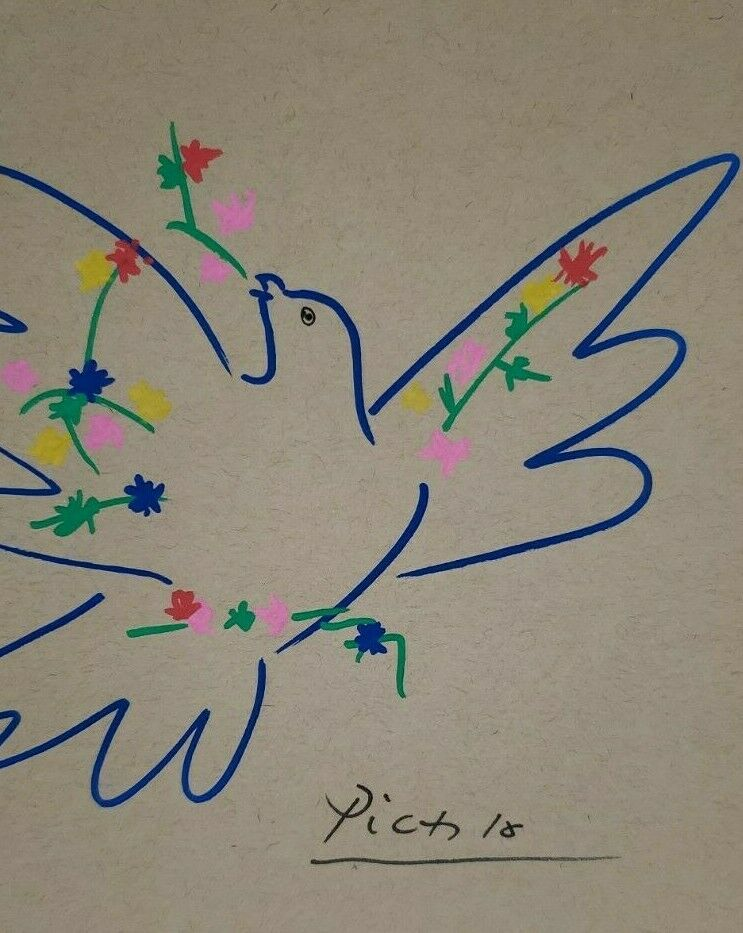 Pablo Picasso - Cubism Dove Drawing -Signed Picasso Art, Signed Vintage Artwork - $99.00