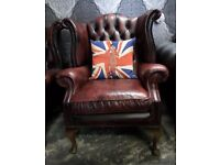Stunning Chesterfield Queen Anne Wing Back Chair Oxblood Red Leather UK Delivery