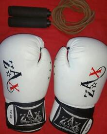 Boxing gloves & leather skip rope