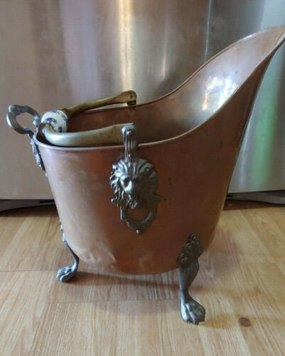 Antique Victorian Clawfoot Brass and Copper Ash Bucket with Porcelain Handles