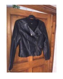 Oasis Black Leather Jacket Size M