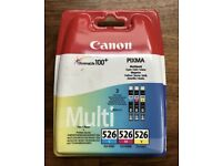 3 x Canon Pixma Ink Cartridges: 2 x 526 Colour and 1x 550 Black (New & Sealed)