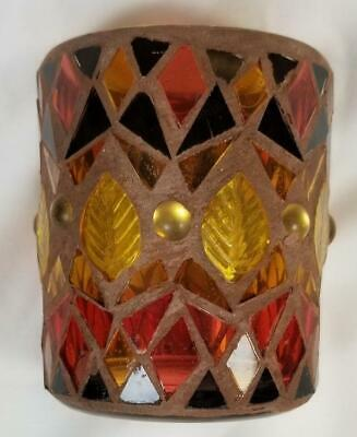 Yankee Candle Votive Holder Autumn Fall Leaves Glass Orange Yellow & 2 Votives