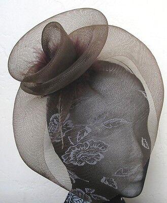 brown feather fascinator millinery burlesque headband wedding hat hair piece 1
