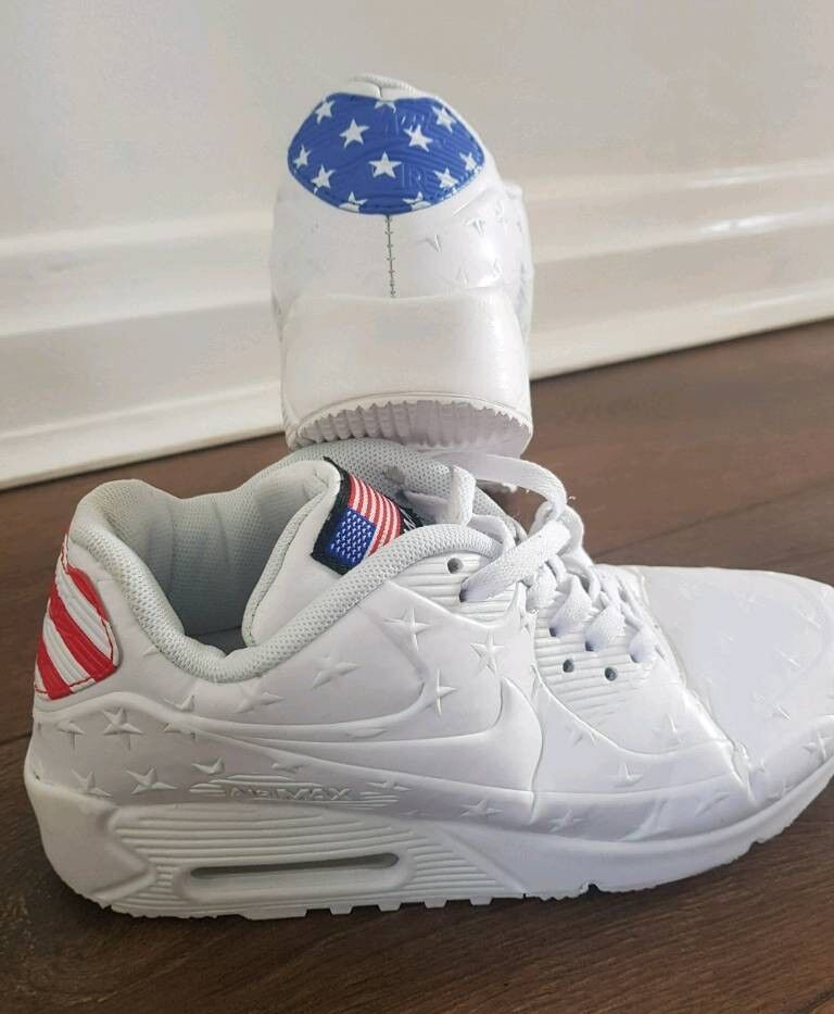766e98a9f39f Nike Air Max 90 USA flag stars and stripes white trainers womens size 5 38  leather designer