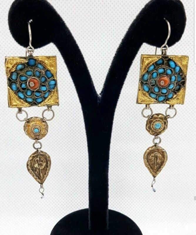 Antique G.P. silver with corals and turquoise  earrings 1870-1910 Central Asia