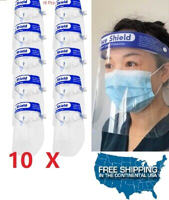 10 PCS Safety Full Face Shield Reusable Washable Protection