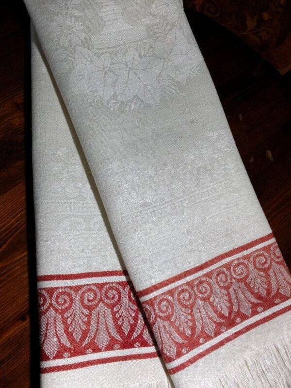 "2 Antique Linen Damask Towels Turkey Red Stripe Urn & English Ivy Wreath 21""x44"""