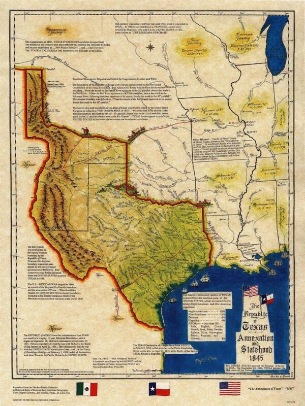 Republic of Texas Annexation & Statehood 1845 Historical Map Old Gift Corporate