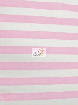 poly cotton 1 stripe fabric pink white