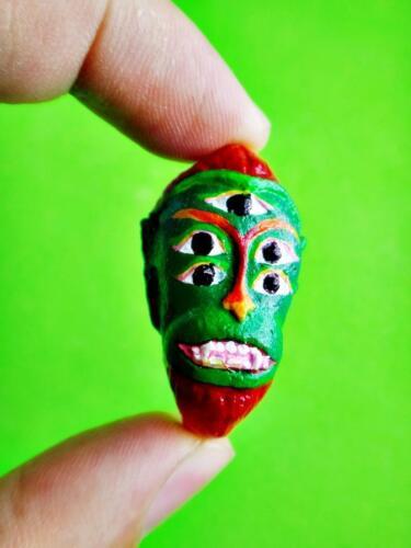 Green Face Sihu Hata Amulet Thai Win Lotto Gambling Casino God Clay Subin #15242