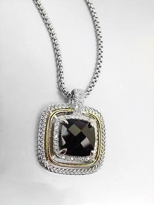 EXQUISITE Silver Wheat Cable Black Onyx 12.66ct CZ Crystal Pendant Necklace Onyx Jewelry Necklace