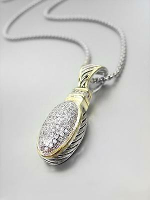 GORGEOUS Designer BALINESE Silver Cable Gold Pave Crystals Oval Pendant Necklace segunda mano  Embacar hacia Argentina