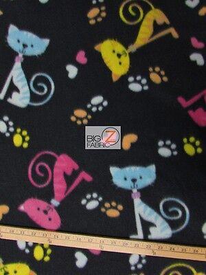 CAT PRINT POLAR FLEECE FABRIC - Cat & Paws - 60