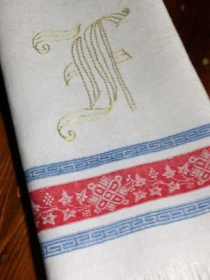 "Antique Turkey Red Linen Damask Towel Indigo Blue Stripes 20"" x 40"""