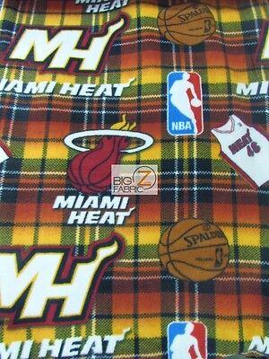 NBA PRINT POLAR FLEECE FABRIC - Miam Heat Plaid - SOLD BY YARD FH-169 - Miam Heat