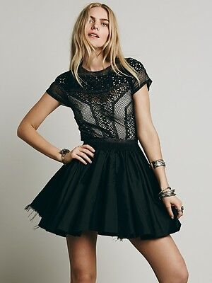 Nwot  168 Free People Fp One Lola Satin Lace Tulle Cocktail Mini Dress Black 6