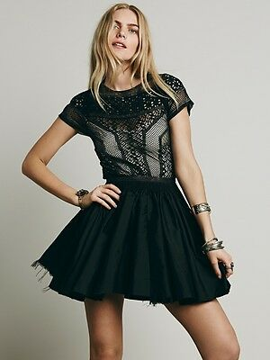 Nwot Free People Fp One Lola Satin Lace Tulle Cocktail Mini Dress Black 6 S  168