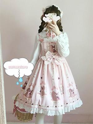Squirrel Womens Long Sleeve - 2019 Women's Lolita Sweet Squirrel Pattern Dress Long Sleeve Cute 3 Colors Cute