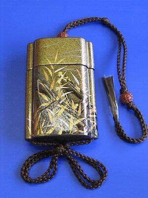 #04 INRO Samurai Pill Box Pill Case Reed boat Maki-e Kyoto Makie