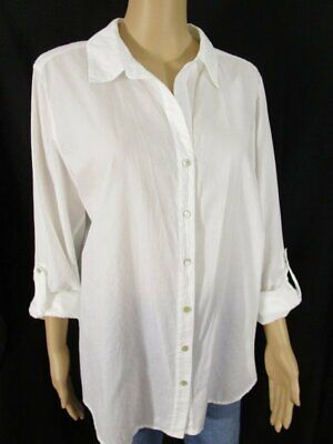 Eileen Fisher White Lightweight Cotton Blouse Roll Tab Size Large