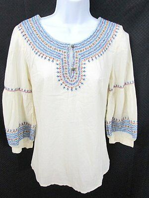 LUCKY BRAND Cotton Embroidered Peasant Blouse Tunic Size XS