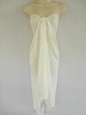 Handmade Pareo Sarong Bikini Cover Up Scarf Beach Luau Solid Color Dress White