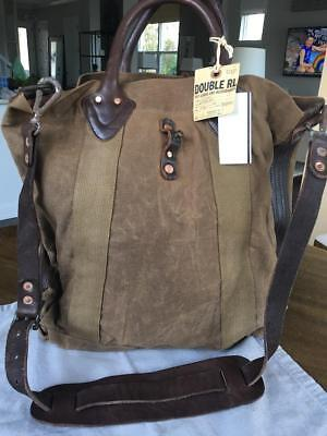 Ralph Lauren RRL Distressed Washed Canvas & Leather Tote Bag