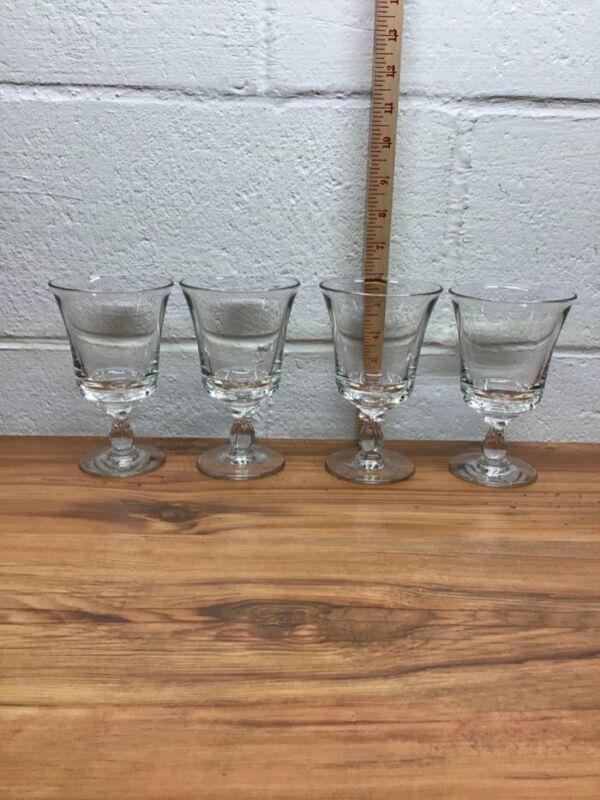 SET OF 4 FOSTORIA WATER/ ICE TEA GLASSES IN THE CENTURY PATTERN.