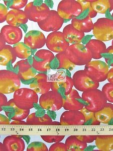 APPLE FRUIT POLY COTTON PRINT FABRIC-White- SOLD BTY POLYCOTTON 58