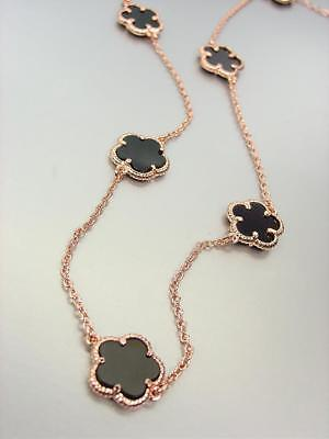 EXQUISITE 7 pcs Black Onyx Clover 18kt Rose Gold Plated Chain 18 Inch Necklace