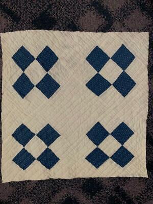 Antique Fabric Indigo Dot Farmhouse Cutter Quilt Piece 20x21 #3