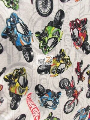 HOT WHEELS MOTORCYCLES BY DAVID TEXTILES FLEECE PRINTED FABRIC (ST-005) BTY](Hot Wheels Fabric)