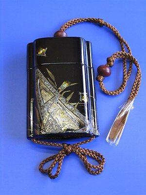 #03 INRO Samurai Pill Box Pill Case Reed boat and Fireflies Maki-e Kyoto Makie