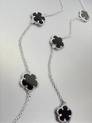 CLASSIC 13 pcs Black Onyx Clover 18kt White Gold Plated Chain 34