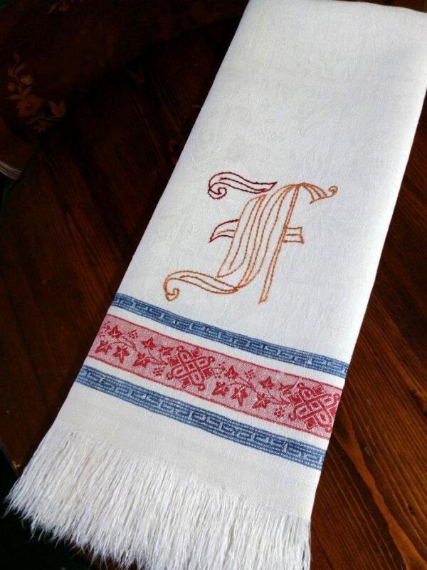 """Antique Turkey Red Linen Damask Towel Indigo Blue Stripe 20"""" x 40"""""""