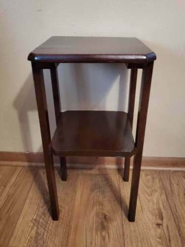 Vintage Solid Wood Plant Stand Side Table 2 Tier Primitive Dark Stain - $37.99