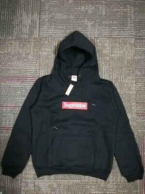 Supreme Hoodie Embroidered Box Logo Hoodie Black Unisex Teen Adult