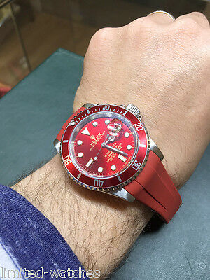 Rolex Submariner Watch Mens, Red Dial Insert + Red Rubber B Strap