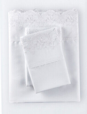 Rachel Ashwell Simply Shabby Chic Woodrose Embroidered Queen Poly Sheet Set NIP