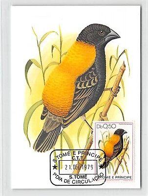 S.TOME MK 1979 VÖGEL GOLDRÜCKENWEBER BIRDS CARTE MAXIMUM CARD MC CM /m280