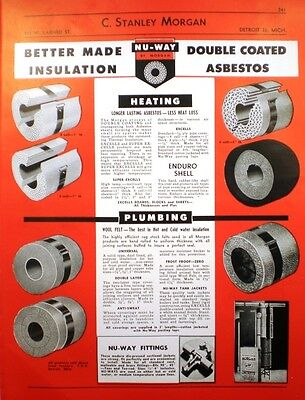 1952 C  Stanley Morgan Catalog Page Asbestos Pipe Tank Insulation