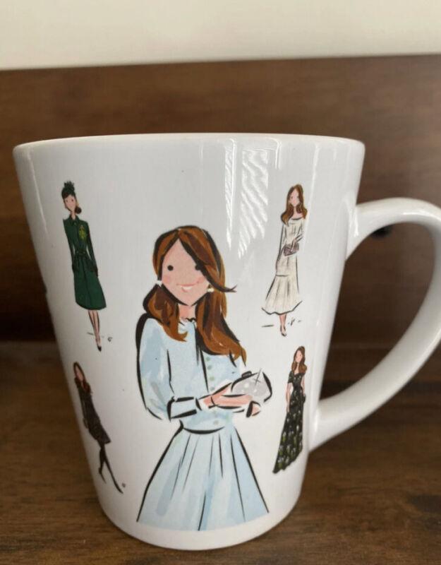 kate middleton illustrated outfits mug RARE