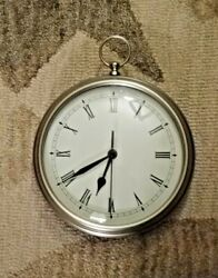 "Pottery Barn Wall Clock In The Shape Of A Pocket Watch Brushed Silver - 9"" Round"