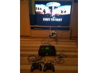 Xbox original black console with 2 controllers & 1 game (no leads)