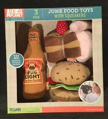 Animal Planet Junk Food Toys Gift Set Dogs Puppy Pets Summer BBQ Plush