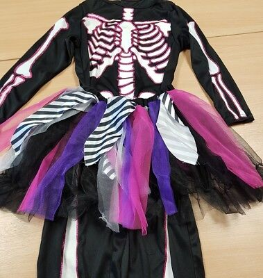 Children's Pink Skeleton with Tutu Fancy Dress Costume Halloween Aged 9-10 (Halloween Costume With Pink Tutu)