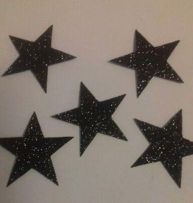 20 Hotfix iron on transfers Black glitter stars size 3.5cm halloween/costumes - 20 Star Halloween Costumes