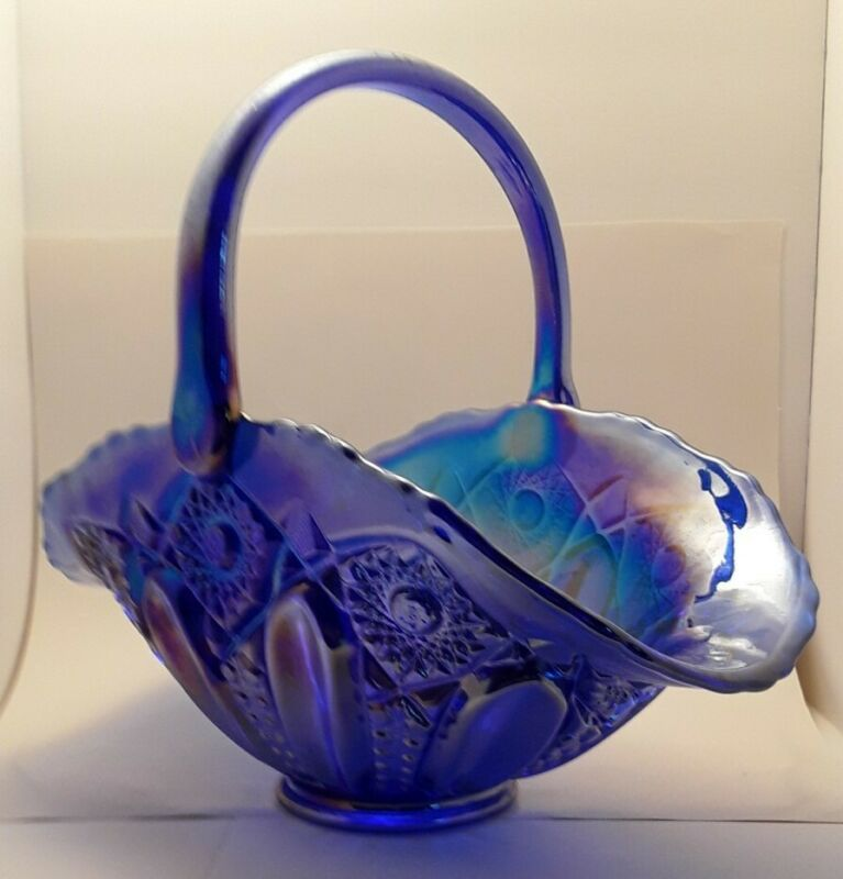 LE Smith Large Quintec Star Blue Carnival Opalescent Basket Iridescent Glass
