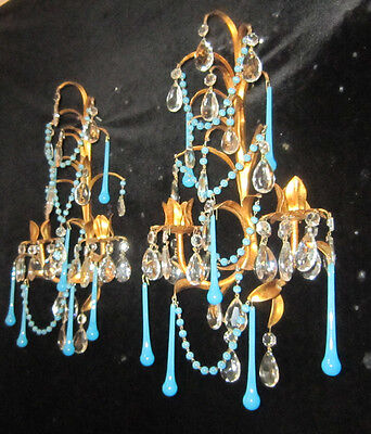 Antique Italian Tole Macaroni OPALINE blue beaded candle Sconce vintage small